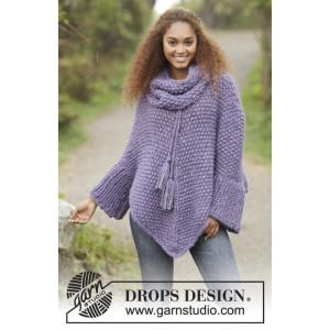 Lavender Grove by DROPS Design - Strickmuster mit Kit Poncho mit Perlmuster Größen S-XXXL