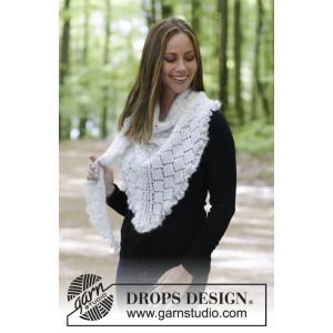 Chill and Frills by DROPS Design - Strickmuster mit Kit Tuch mit Spitzenmuster, Krausrippe und Rüschen 188x56cm