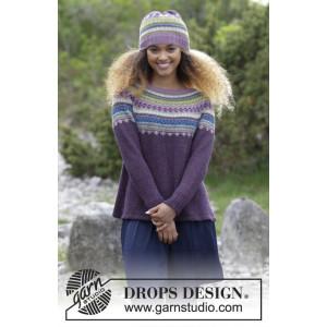 Blauberry Fizz by DROPS Design – Strickmuster mit Kit Pullover und Mütze im mehrfarbigen norwegischen Muster Größe S - XXXL