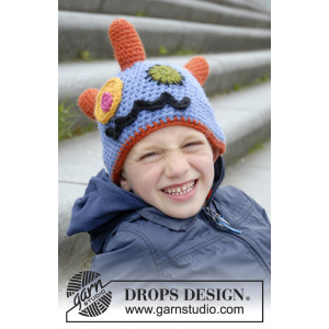 Crazy Eyes by DROPS Design - Häkelmuster mit Kit Monstermütze mit Hörnern, Augen und Mund Größen 3-12 Jahre