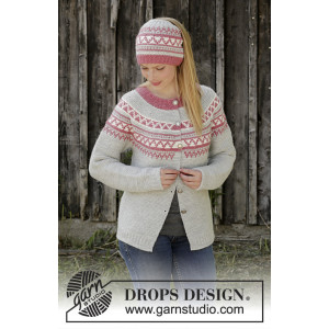 Hint of Heather by DROPS Design - Strickmuster mit Kit Jacke Größen S - XXXL