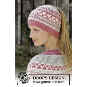 Hint of Heather Hat by DROPS Design - Strickmuster mit Kit Mütze Größen S-XL