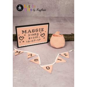 Mayflower Little Bits Neugeborenen-Set - Häkelmuster mit Kit Wimpel, Schnullertasche, Geburtsposter