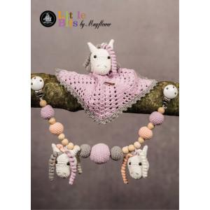Mayflower Little Bits Baby Set mit Pferden - Häkelmuster mit Kit Decke und Kinderwagenkette