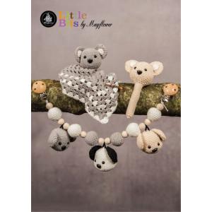 Mayflower Little Bits Baby Set mit Bären - Häkelmuster mit Kit Rassel, Babydecke und Kinderwagenkette