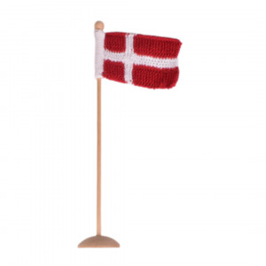 Knitted Dannebrogs flag by Rito Krea Strickmuster mit Kit Flagge Dänemark 8x12cm
