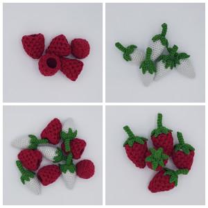 Karla´s Himbeeren by Rito Krea – Frucht Häkelmuster mit Kit 9cm - 5 Stk