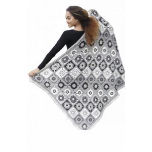 Margarita by DROPS Design - Decke mit gehäkelten Quadraten 140x96cm