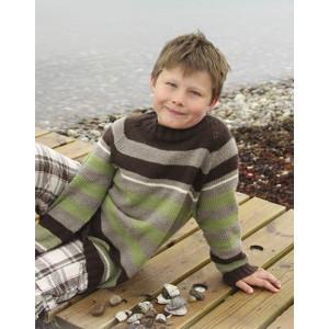 Sticks and Stones by DROPS Design - Strickmuster mit Kit Pullover mit Streifen und Raglan Größen 3-14 Jahre