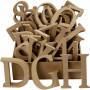 Buchstaben, Zahlen & Zeichen aus Holz, H 8 cm, Stärke: 1,5 cm, 240 Stck., MDF