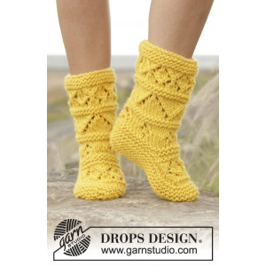 Lemon Twist by DROPS Design - Strickmuster mit Kit Socken Größen 35/37 - 40/42