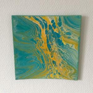 Acryl-Pouring by Rito Krea - Pouring Malerei 20x20cm