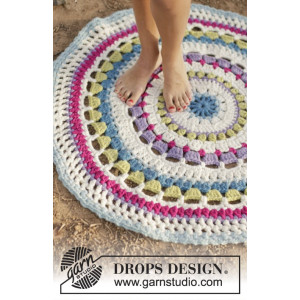 Color Wheel by DROPS Design - Häkelmuster mit Kit Teppich 94cm