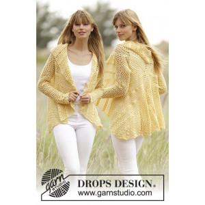 Oasis by DROPS Design - Häkelvorlage mit Kit Rundstrickjacke mit Spitzenmuster Größen S-XXXL