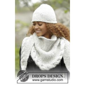 Winter Cozy by DROPS Design - Strickmuster mit Kit Mütze und Tuch mit Zopfrandmuster Größen S-XL und 165x45cm