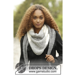 Warm Mist by DROPS Design - Strickmuster mit Kit Tuch mit Querstreifen 180x40cm