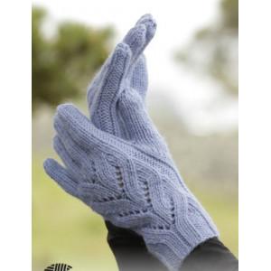 Parisien by DROPS Design - Strickmuster mit Kit Handschuhe mit Spitzen-Zopfmuster Einheitsgröße
