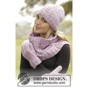 Malin by DROPS Design - Strickmuster mit Kit Mütze, Schlauchschal und Handschuhe Größen S/M - L