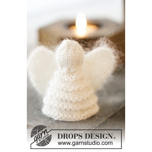 Christmas Cherub by DROPS Design - Strickmuster mit Kit Engel Weihnachtsdekoration 7,5cm - 2 Stk