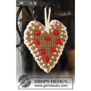 Gingerbread Heart by DROPS Design - Häkelmuster mit Kit Weihnachts-Herz 13x11cm - 2 Stk